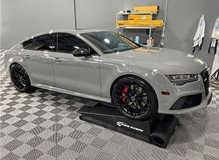 White Car in Workshop